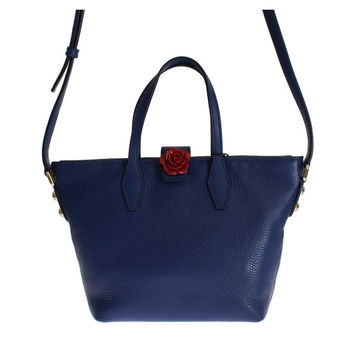 Dolce & Gabbana Blue Leather Shopping Rose Shoulder Tote Bag