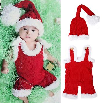 Christmas Newborn Photography Props Baby Infant Xmas Crochet Knit Costume Santa Claus Hat Rompers Winter Red
