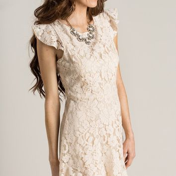 Madeline Cream Lace Ruffle Dress
