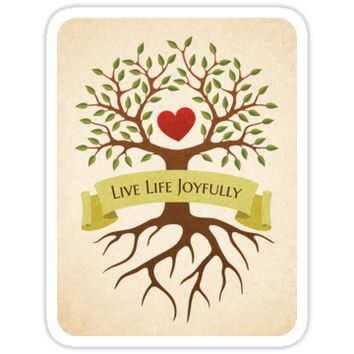 'Live life joyfully - Tree with branches surrounding a red heart, sticker' Sticker by MheaDesign