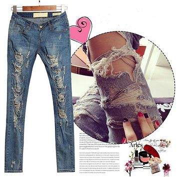 1882 2017 hot fashion ladies female cotton denim ripped punk cut out women sexy skinny pants jeans trousers metal chain jeans