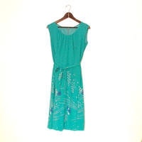 Cyan Green Summer Dress, Vintage Dress, Bluegreen Sleeveless Dress With Narrow Belt, Floral Pattern