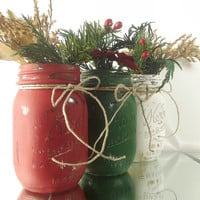 Hand Painted Mason Jars - Set of Three Painted Mason Jars | Rustic - Style Holiday Decor