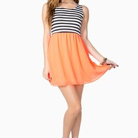 Stripe Contrast Day Dress