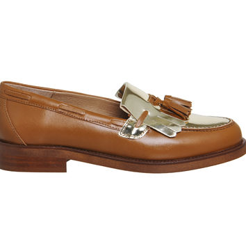 Office Extravaganza Loafers Tan Leather Gold Metallic - Flats