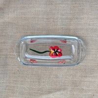 Butter Dish Hand Painted with Red Poppies