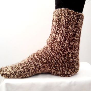 Handmade SOCKS UNISEX  Pair Wool Natural Knit Hiking Socks Womens Socks