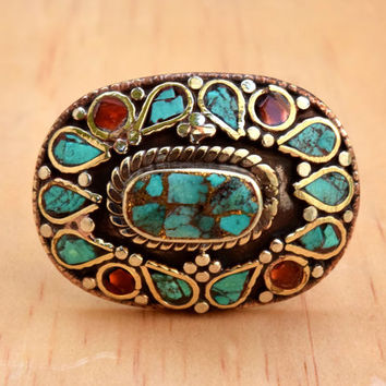 Turquoise Coral Ring,Inlaid Stone,Nepali Tibetan Ring,Ethnic Jewelry,Tibetan Silver Ring,Ethnic Bohemian Ring,Gypsy Boho Ring,Hippie Ring