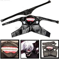 Anime Tokyo Ghoul Kaneki Ken Mask Cosplay PU Leather Adjustable Zipper Masks Halloween Costumes