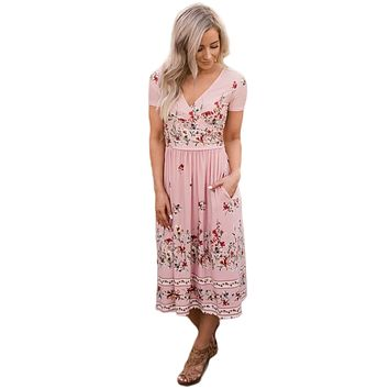 Pink Floral Print Faux Wrap Midi Dress