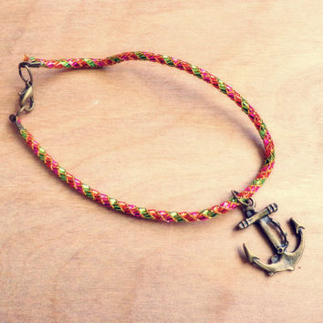 Handmade Bracelet/ Anklet with Antique Bronze Anchor Charm