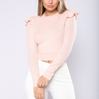 Closet Full Ruffle Sweater - Rose Pink
