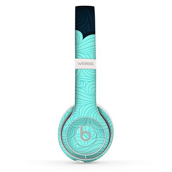 The Tiffany Green Abstract Swirls with Dark Skin Set for the Beats by Dre Solo 2 Wireless Headphones