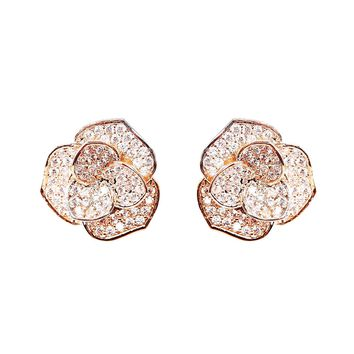 EVERU Fashion Jewelry Rose Gold Flower Stud Earrings