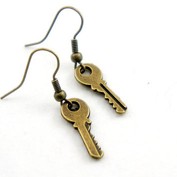 Antiqued Brass Vintage Style Tiny Key Dangle Earrings - CP035