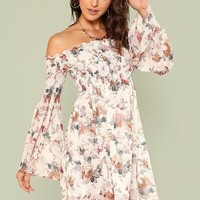 Bell Sleeve Floral Off Shoulder Dress