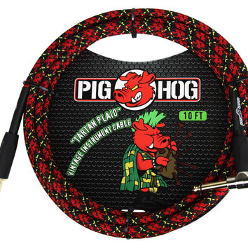 """Pig Hog """"Tartan Plaid"""" Woven Jacket Tour Grade Instrument Cable, 20-foot Right Angle"""