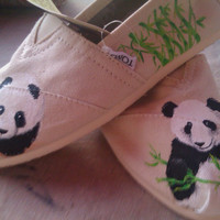 Panda Bear Hugs hand painted TOMS