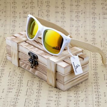 BOBO BIRD Bamboo Wood Polarized Sunglasses With Reflective Mirror