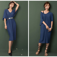 oversized dress in blue,long length,bat sleeve,V neck,half sleeve,off shoulder,chic,made from modal,comfortable,for summer.--E0221