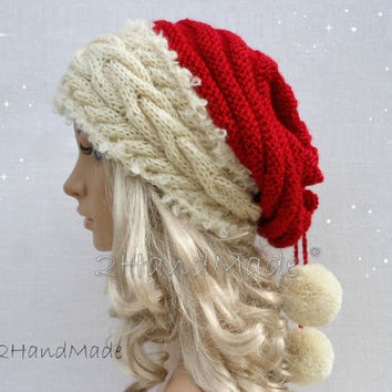 Santa Hat Adult Unisex Cable Knit Oversized Beret Baggy Neck Warmer Slouchy Cristmas Santa Hat Unisex beanie Chunky Tube Scarf Pom Poms