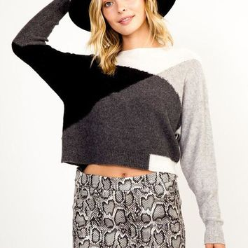Kixters - Black/Grey/White Colorblock Long Sleeve Crop Top