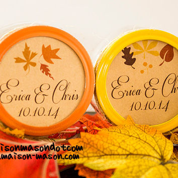 "Personalized Wedding Labels Autumn Fall Leaves, Monogram, Name or Initials Kraft Brown Mason Jar Stickers- 2"" & 2.5"" round stickers"