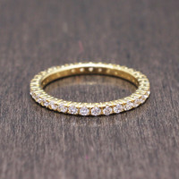 925 sterling silver gold vermeil plated stackable eternity band ring with pave cubic zirconia