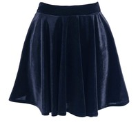 Navy Velvet Skater With Elasticated Waist at Fashion Union