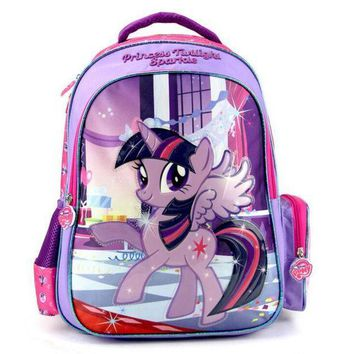 CREYCI7 New Kids Lovely Cartoon Schoolbag My Little Pony Girls Backpack for Kindergarten Primary School Kids Back to School Gift Bags