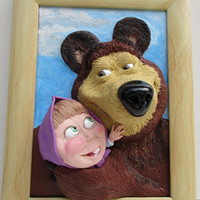 3D wall picture, Masha and the Bear, Polymer clay, Nursery decor, Home decor,  Funny gift, 3D wall art, animated characters
