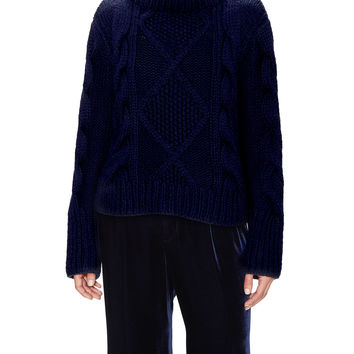Wythe NY Women's Cable Knit Turttleneck Cashmere Sweater - Dark Blue/Navy