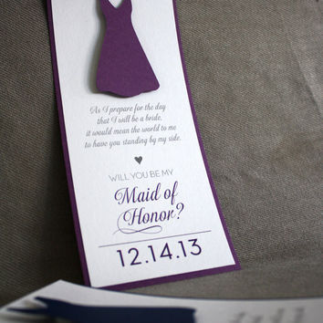 Set of 5 - Will You Be My Bridesmaid - Maid of Honor Cards - with Dress - Your Colors and Date