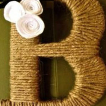 Customized Twine Monogram Wreath with handcrafted felt and burlap flowers and a ribbon to hang