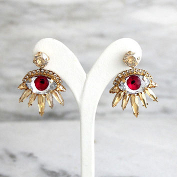 Eye Earrings, Evil Eye Earrings, Ear Jacket, Ear Jacket Earrings, Front Back Earrings, Swarovski Ear Jacket Earrings, Statement Earrings