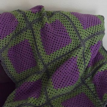 E Crochet Olive Green and Purple Blanket