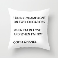 Velveteen Pillow - Coco Chanel - Quotes - Champagne - Typography - Fashion Pillow - Art Deco Decor - Pillow Quote - Typography