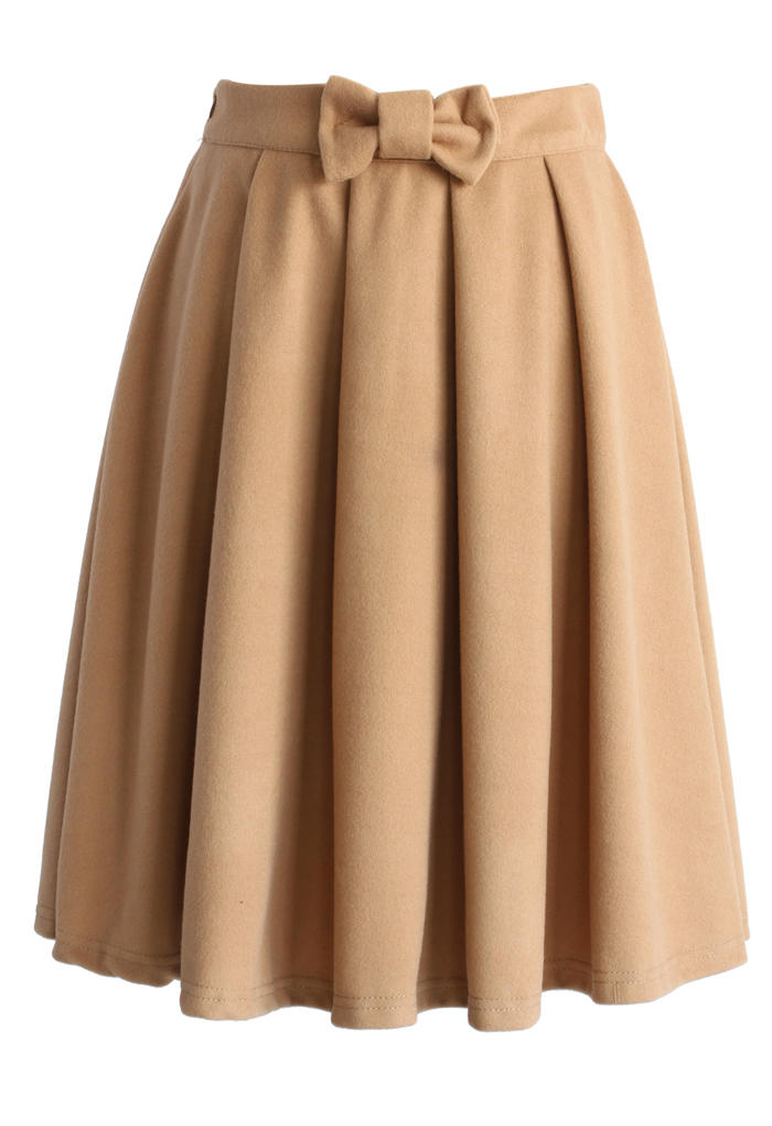 bowknot pleated midi skirt in brown from chicwish skirt