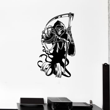 Wall Decal Death Scythe Cloak Fear Horror Skeleton Monster Vinyl Sticker Unique Gift (ed624)