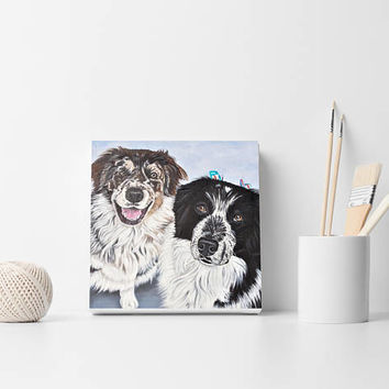 Custom pet painting Custom portrait For 2 pets Painting from photo Custom dogs portrait Custom cats portrait Memorial gift Pet loss gift