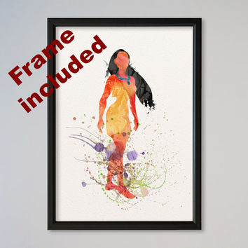 Pocahontas Poster Disney Princess Watercolor FRAMED Illustration print Kids art Wall Decor Nursery Giclee Fine Art Picture