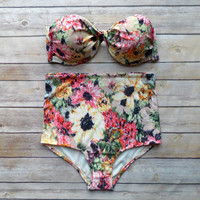 High Waist Floral Bikini Set Push Up Padding Sexy Swimsuit