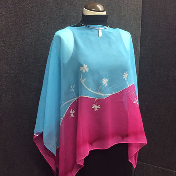 Pink Blues Pull-Over - Hand Painted Silk Poncho