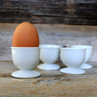 set of 4 vintage egg cups white porcelain : germany