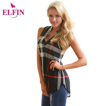 2016 Summer Women Tank Tosp Tee Shirt Print Plaid Sleeveless Slim Fit Casual Office Ladies Tops Blusas Femininas Tunic LJ4893S