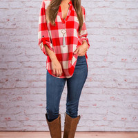 Party In Plaid Top, Red-Ivory