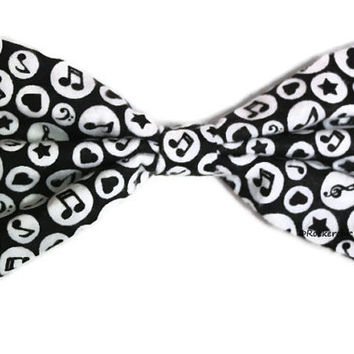 Music Lover Hair Bow - Large, Black and White, Hearts, Stars - Fabric, Music Notes, Womens, Teens, Kawaii, Oversized, Treble Clef, Polka Dot