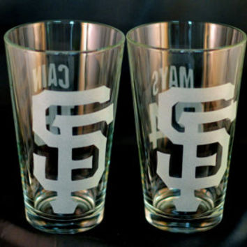 Set of 4 Custom Etched SF Giants Pint glasses. Pick your players!