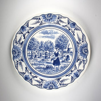 vintage french ceramic plate, blue and white dutch Delft style seasons, Summer