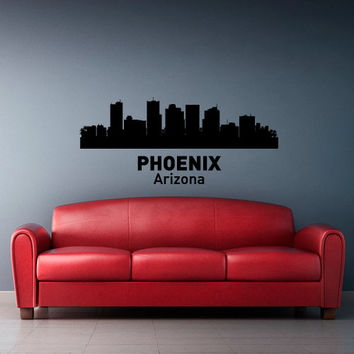 Wall Vinyl Sticker Decals Decor Art Bedroom Design Mural Words Sign Town City Skyline Phoenix Arizona (z3056